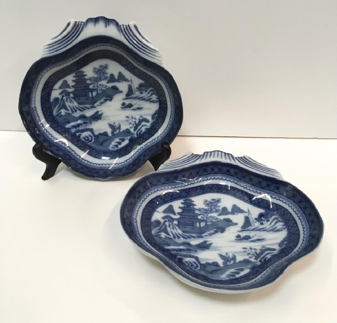 TWO PCS OF MOTTAHEDEH BLUE CANTON SHELL DISHES