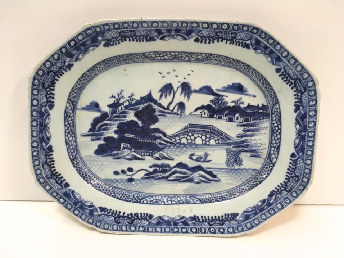 ANTIQUE CHINESE CANTON OCTAGONAL PLATTER