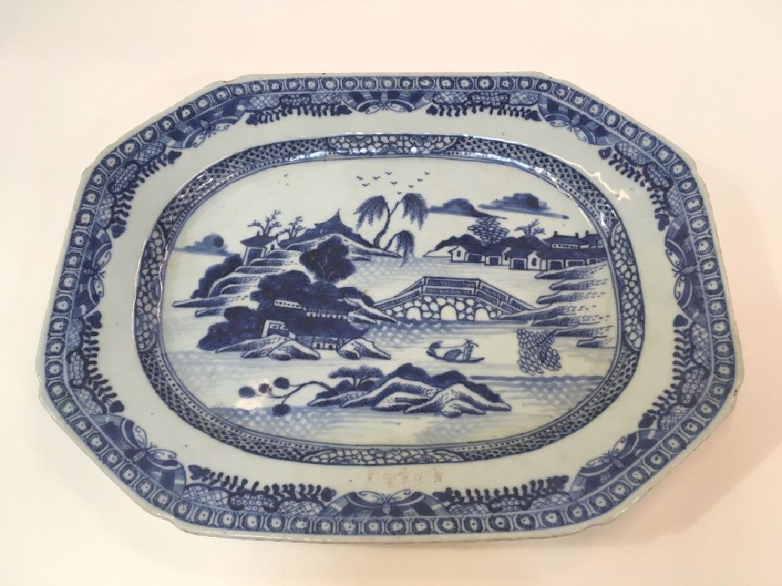 ANTIQUE CHINESE CANTON OCTAGONAL PLATTER - 7