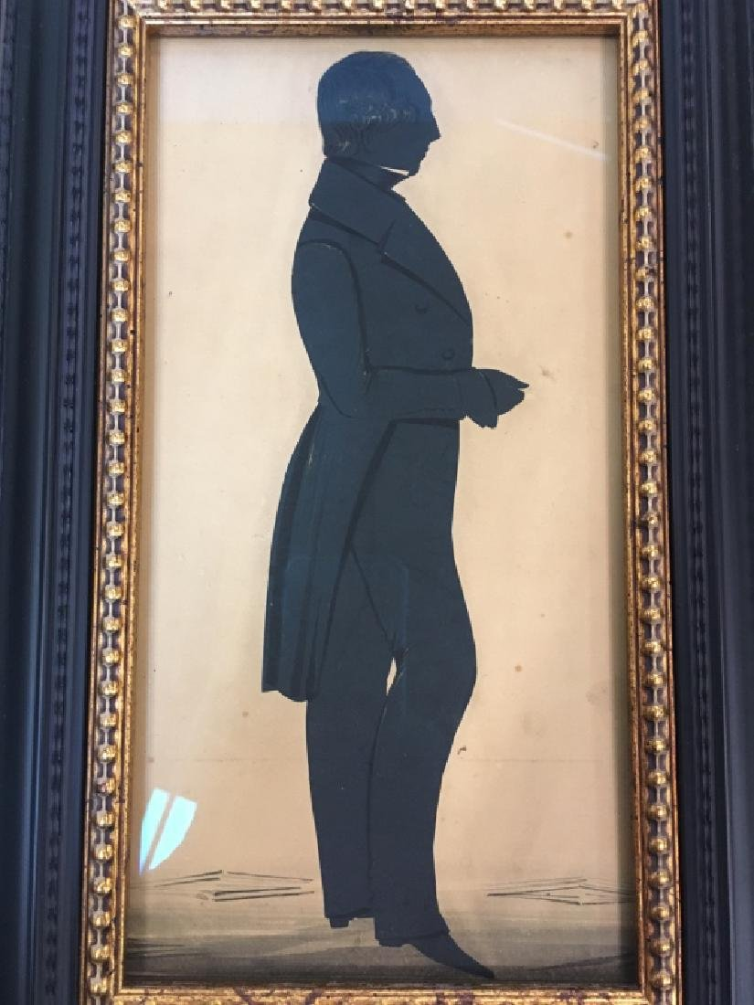 TWO 19TH C HAND PAINTED PAPER CUT SILHOUETTES - 5
