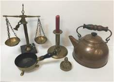 FIVE PCS OF ANTIQUE  DECORATIVE BRASS