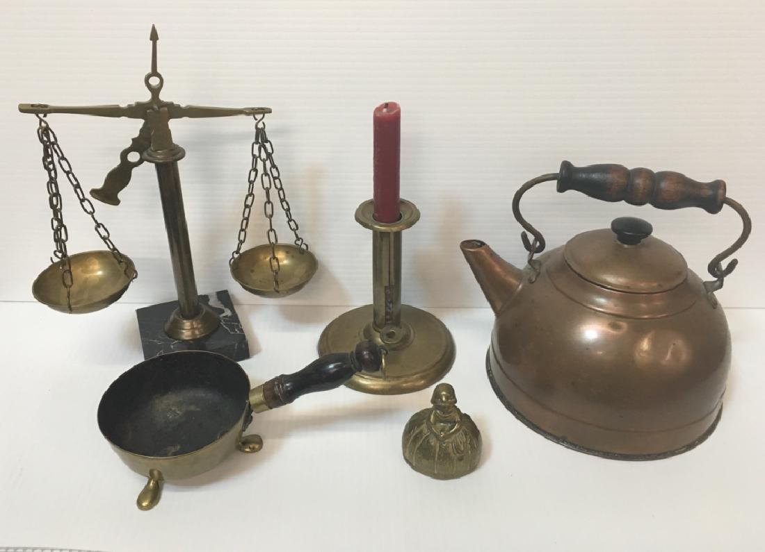 FIVE PCS OF ANTIQUE & DECORATIVE BRASS