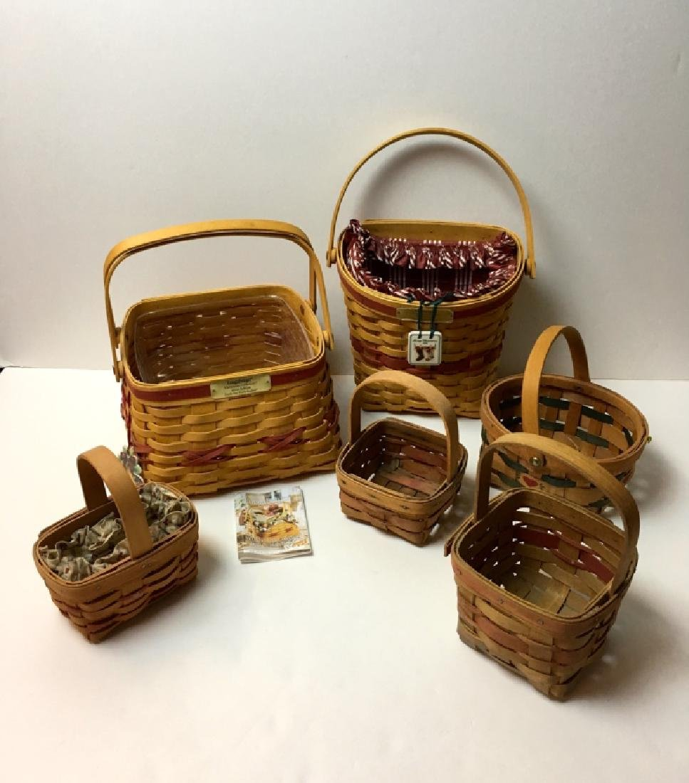 6 BASKETS - 5 LONGABERGER & 1 UNMARKED