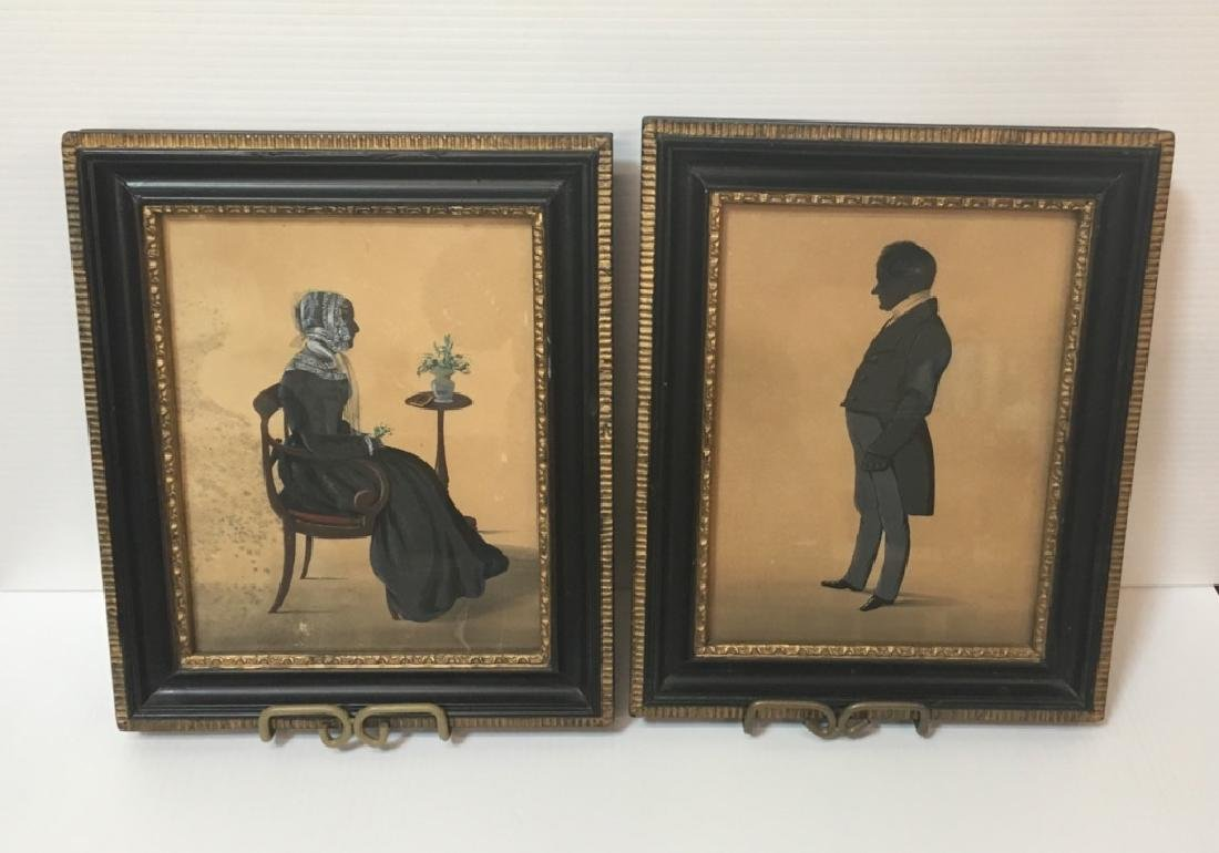 TWO 19TH C HAND PAINTED PAPER CUT SILHOUETTES