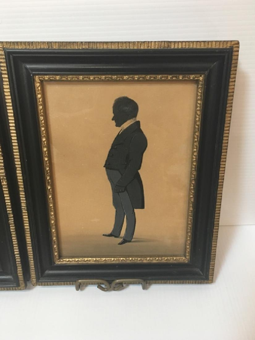 TWO 19TH C HAND PAINTED PAPER CUT SILHOUETTES - 2