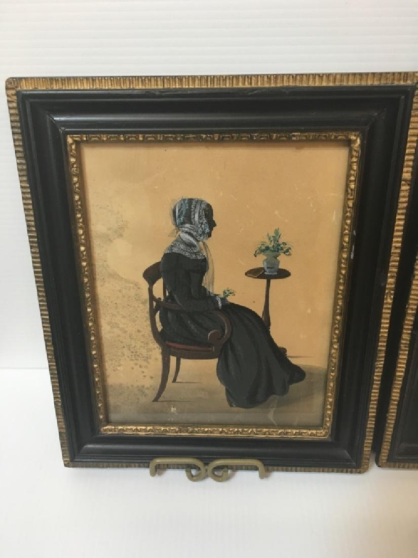 TWO 19TH C HAND PAINTED PAPER CUT SILHOUETTES - 3