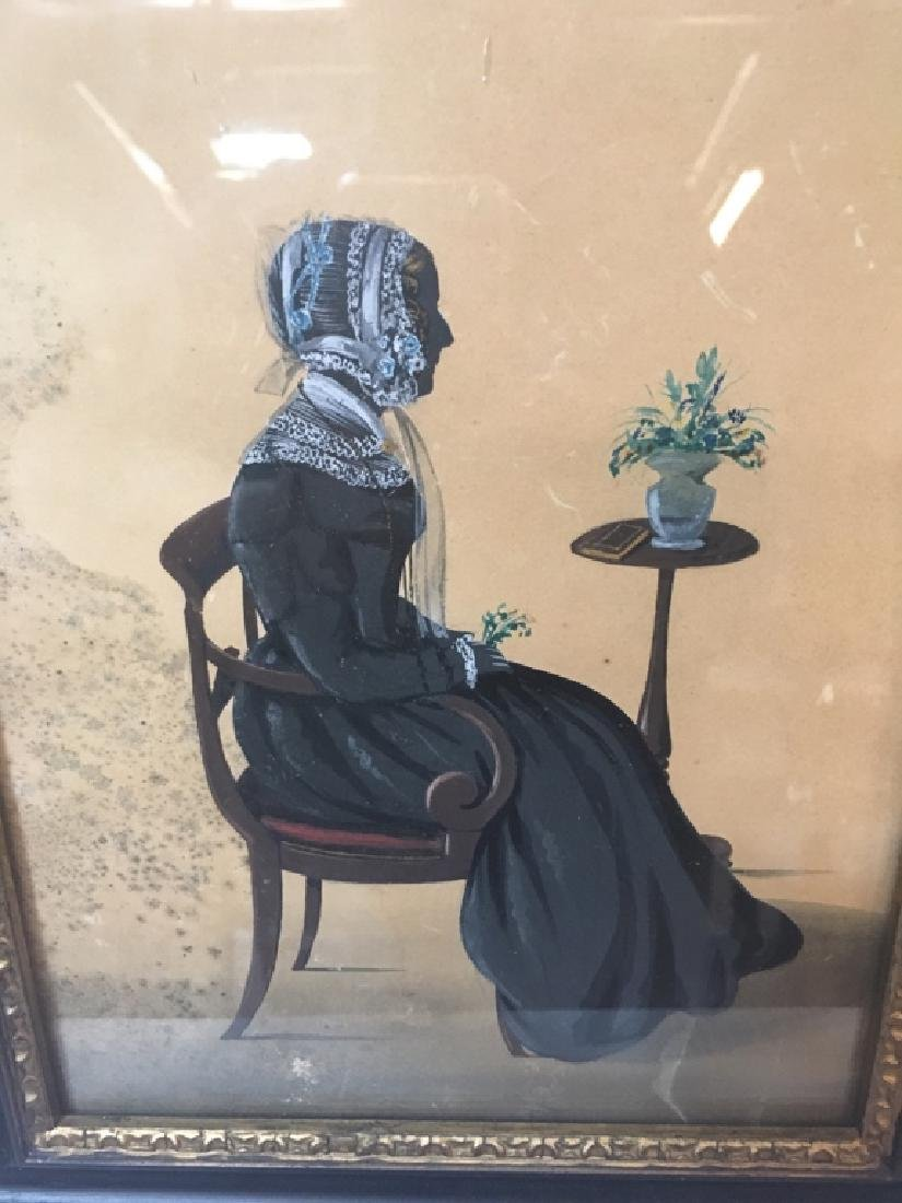 TWO 19TH C HAND PAINTED PAPER CUT SILHOUETTES - 4