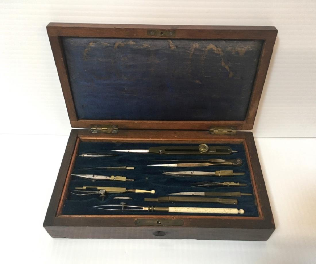 ANTIQUE DRAFTING SET FITTED IN WOODEN BOX - 3