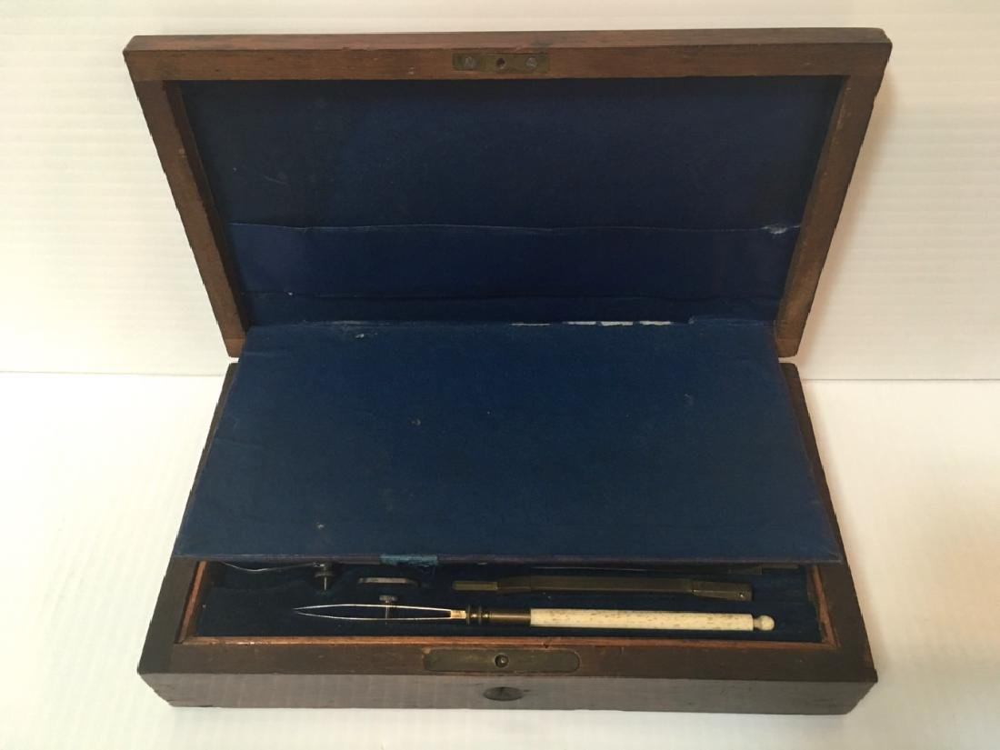 ANTIQUE DRAFTING SET FITTED IN WOODEN BOX - 5