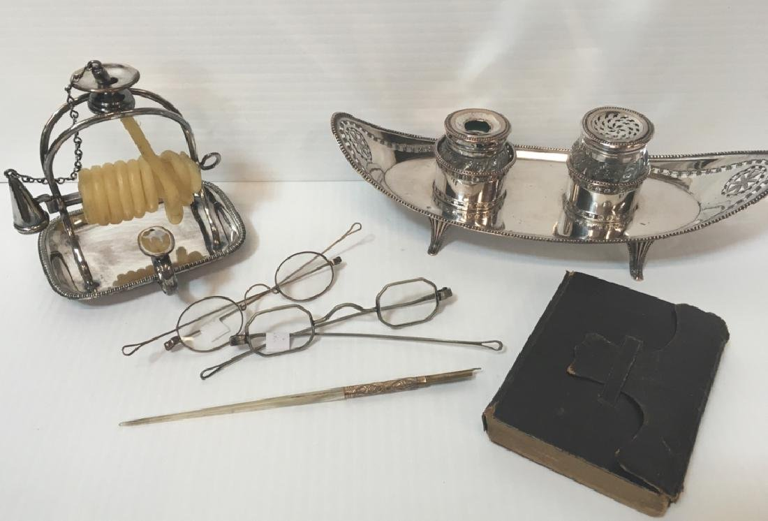 ANTIQUE SILVER PLATE, GLASSES, DIP PIN & BOOK