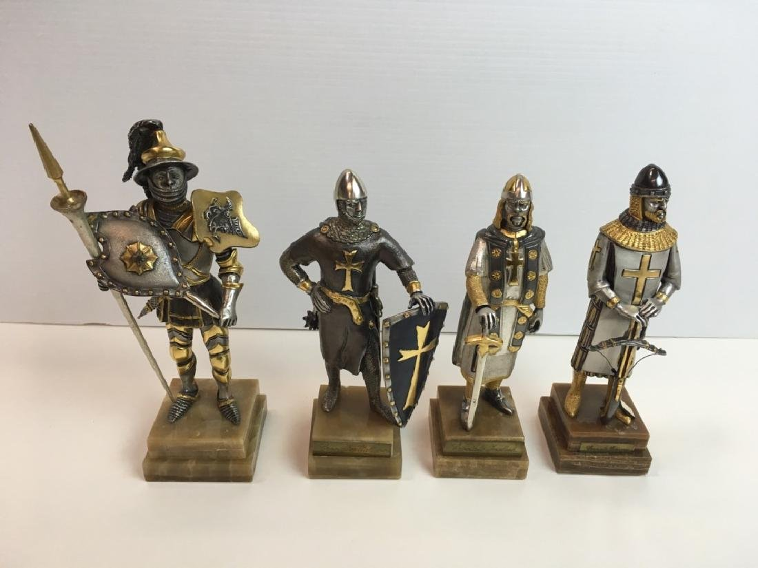 4 PAINTED AND GILDED METAL CRUSADER FIGURES