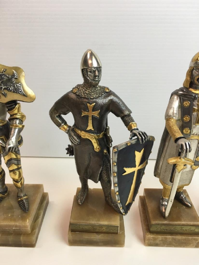 4 PAINTED AND GILDED METAL CRUSADER FIGURES - 3