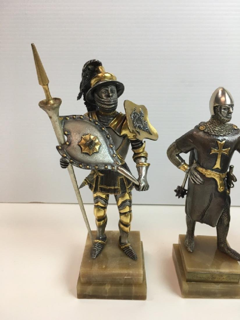 4 PAINTED AND GILDED METAL CRUSADER FIGURES - 4