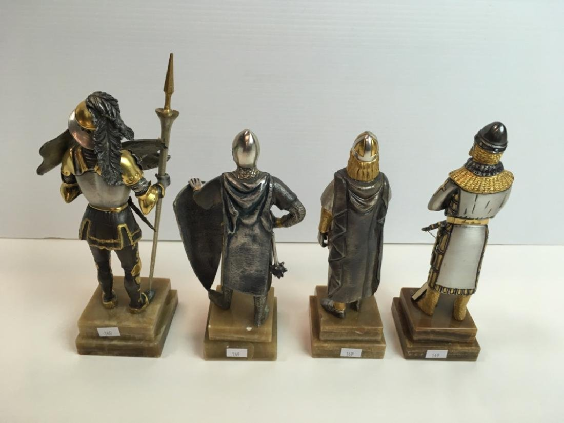 4 PAINTED AND GILDED METAL CRUSADER FIGURES - 5