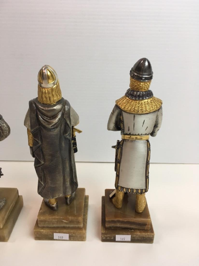 4 PAINTED AND GILDED METAL CRUSADER FIGURES - 6