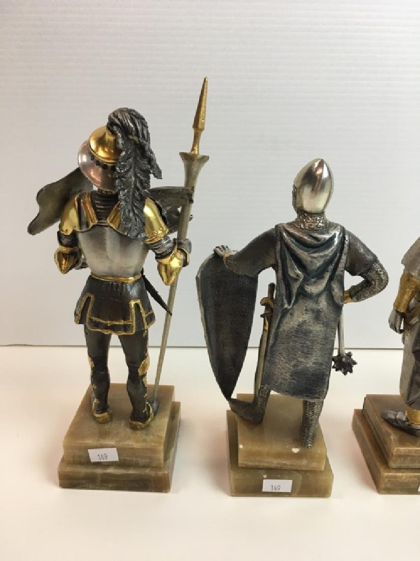 4 PAINTED AND GILDED METAL CRUSADER FIGURES - 7