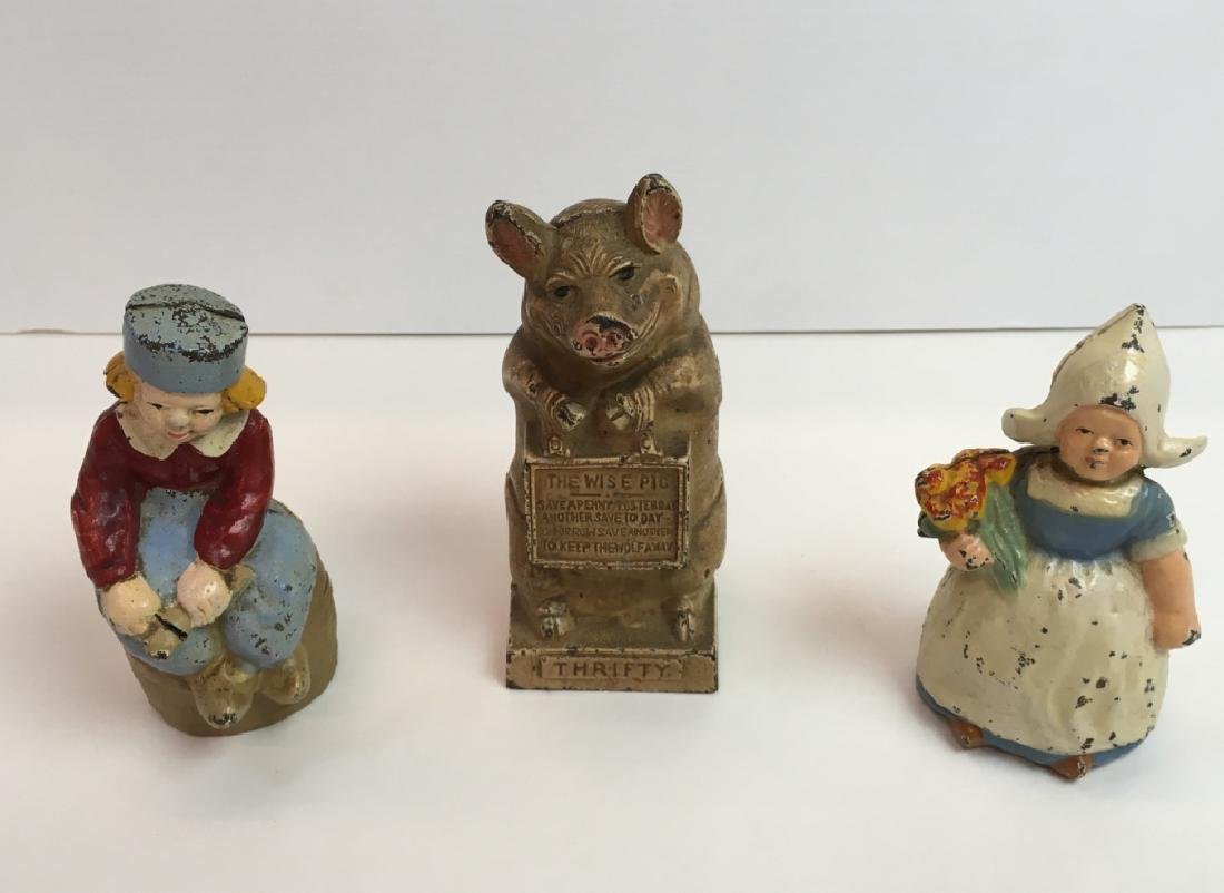 3 VINTAGE STILL BANKS - DUTCH BOY / GIRL & PIG
