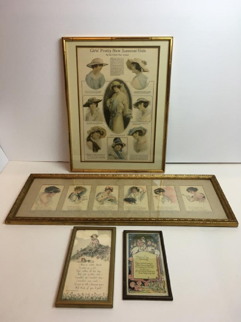 4 FRAMED ANTIQUE / VINTAGE ARTICLE, CARDS & POEMS