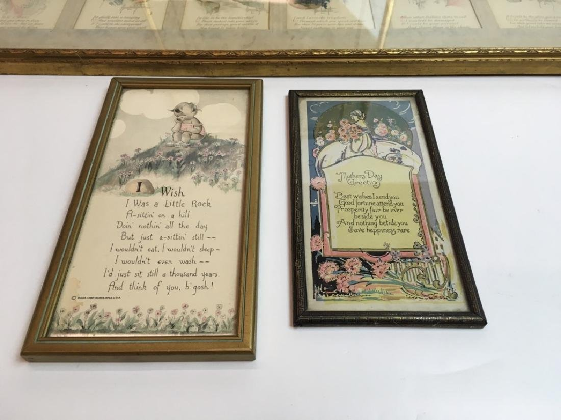 4 FRAMED ANTIQUE / VINTAGE ARTICLE, CARDS & POEMS - 4