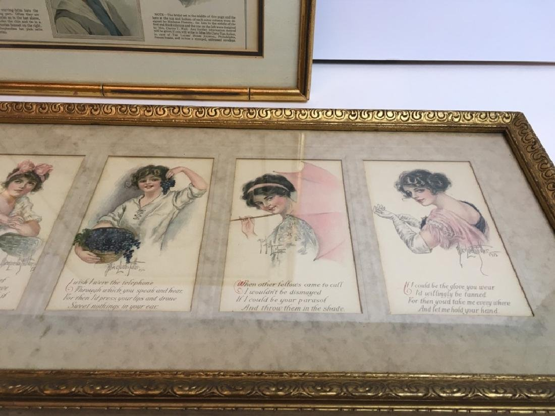 4 FRAMED ANTIQUE / VINTAGE ARTICLE, CARDS & POEMS - 6