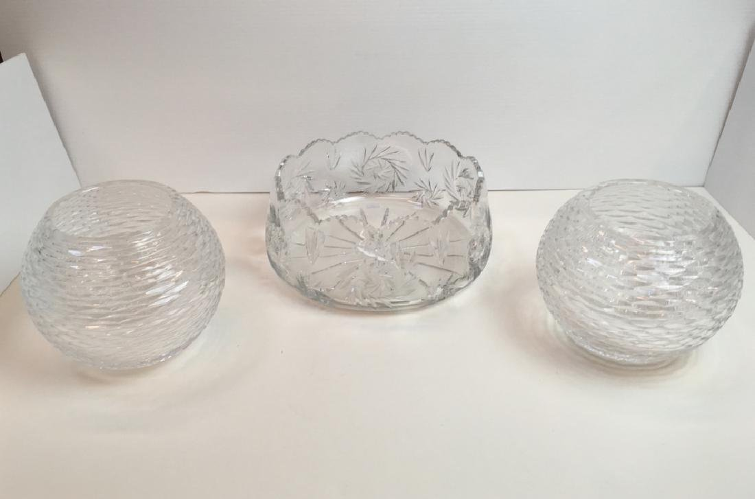 3 CUT GLASS BOWLS