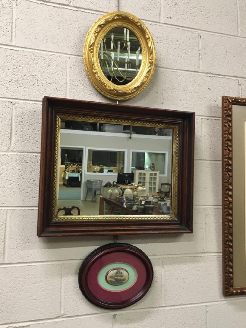 3 PCS - 2 FRAMED MIRRORS & OVAL SHIP PAINTING