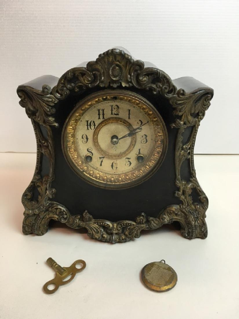 ANTIQUE ANSONIA BLACK METAL MANTLE CLOCK