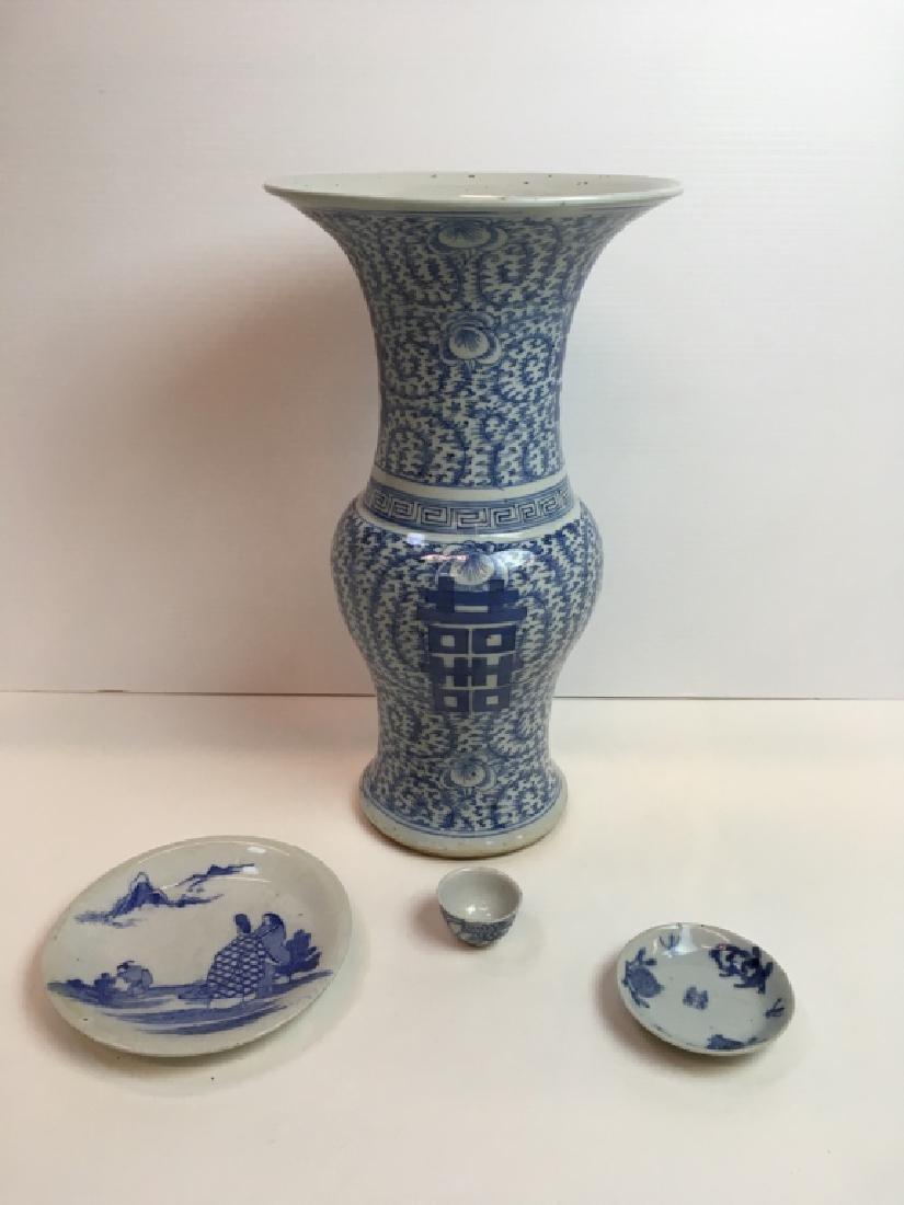 3 PCS ANTIQUE JAPANESE BLUE & WHITE DECORATIVES