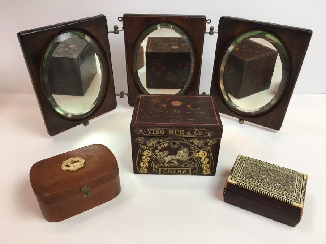 4 PCS VINTAGE DECORATIVES - BOXES & MIRROR