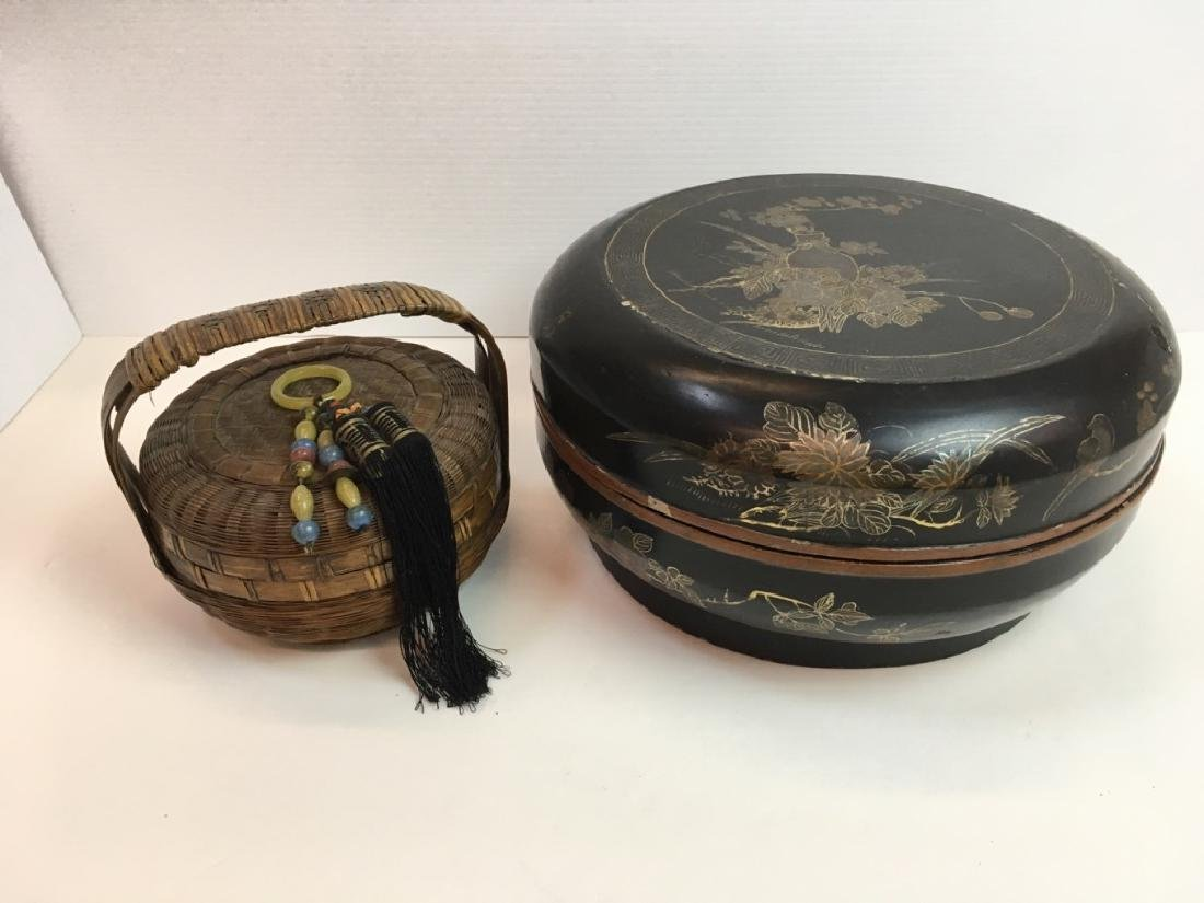 2 VINTAGE JAPANESE SEWING BOX & BASKET