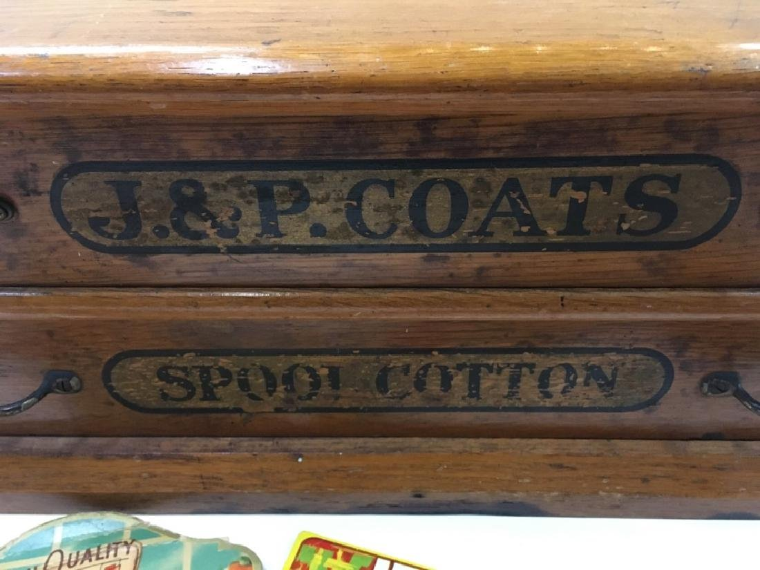 ANTIQUE OAK J & P COATS SPOOL CABINET - 5