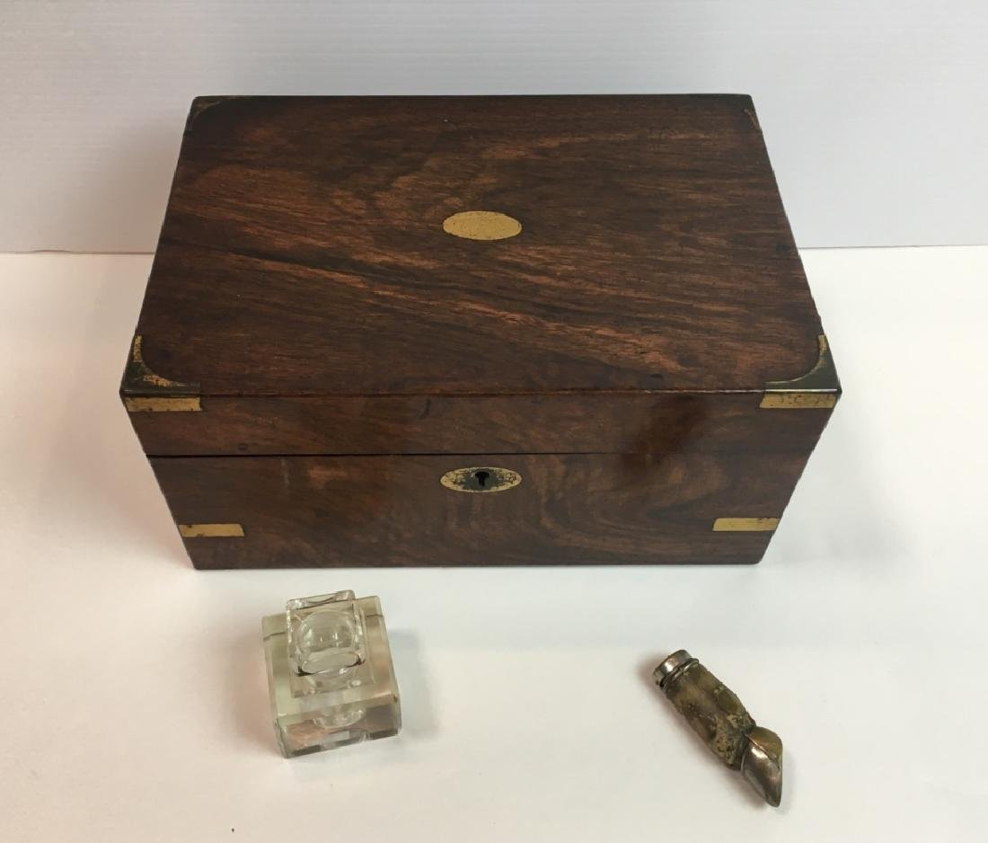 ANTIQUE WRITING BOX, INKWELL & MATCH SAFE