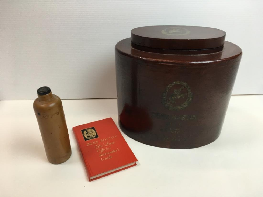 3 PCS - COGNAC BOX, STONEWARE BOTTLE & BOOK