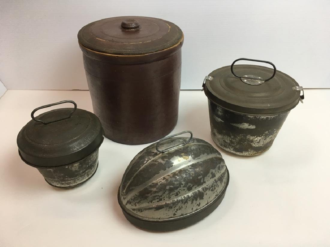 4 PCS - VINTAGE TIN & LIDDED BROWN WARE CROCK