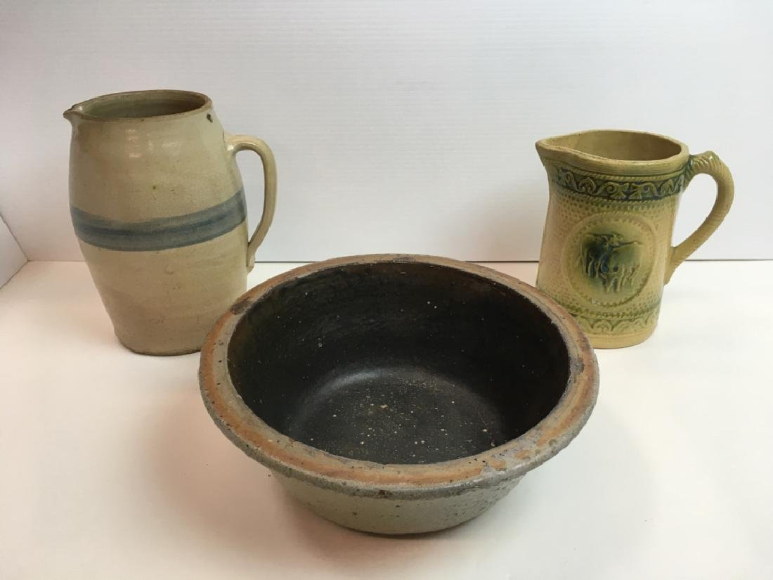 3 PCS OF ANTIQUE STONEWARE - PITCHERS & MILK PAN