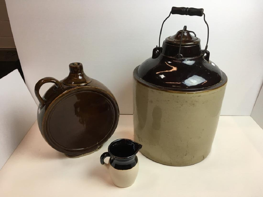 3 PCS -ANTIQUE LIDDED CROCK, JUG & VINTAGE PITCHER
