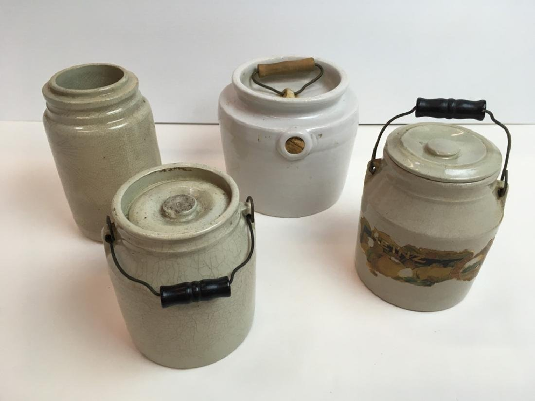 4 PCS OF STONEWARE - JUG & JARS