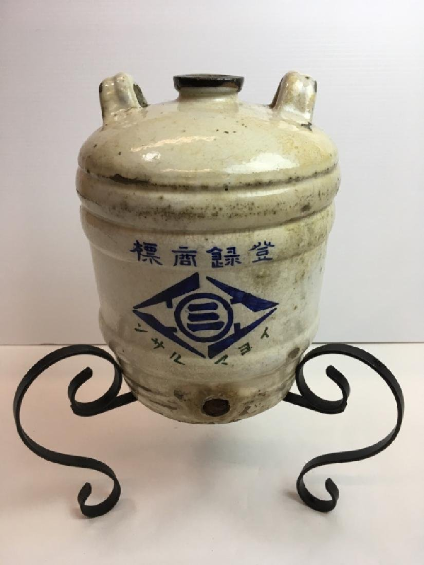 ANTIQUE JAPANESE STONEWARE SAKE JUG