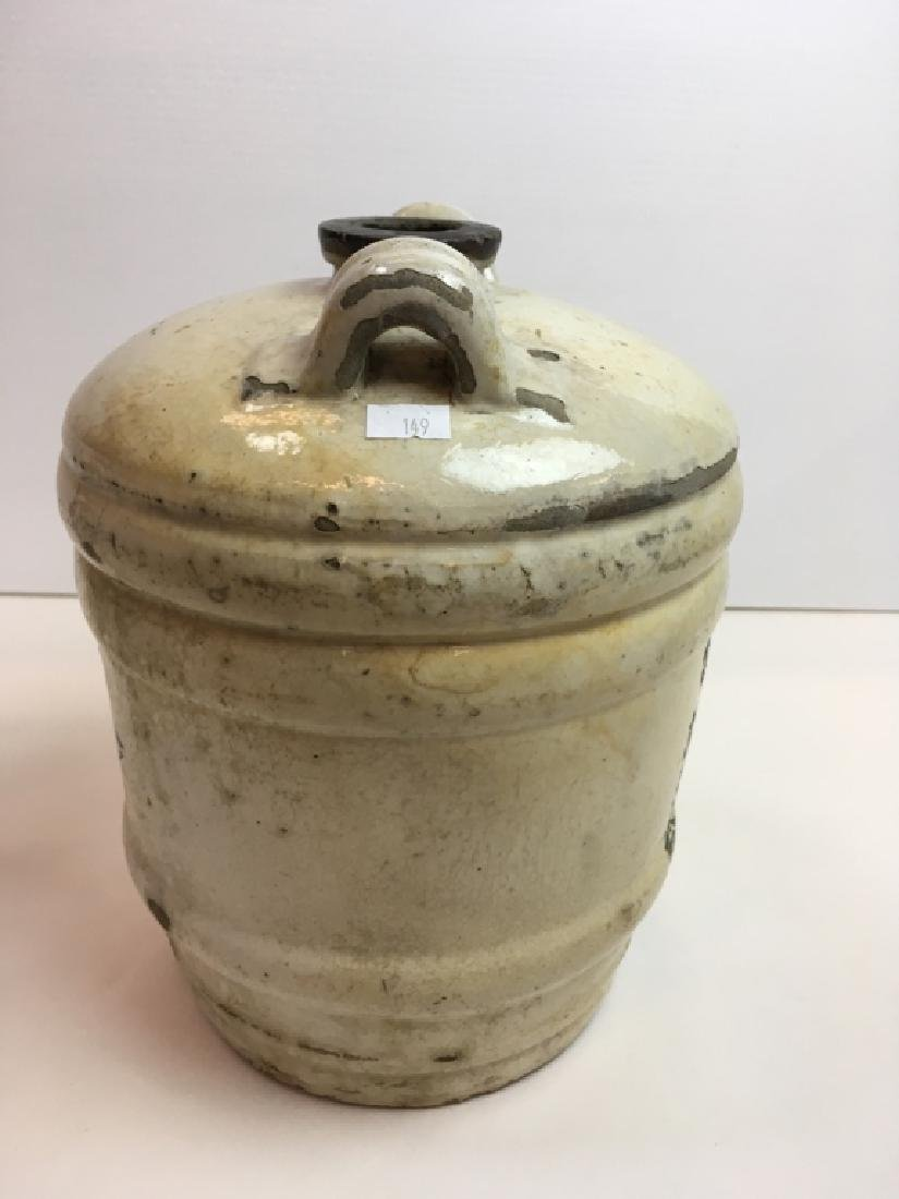 ANTIQUE JAPANESE STONEWARE SAKE JUG - 5