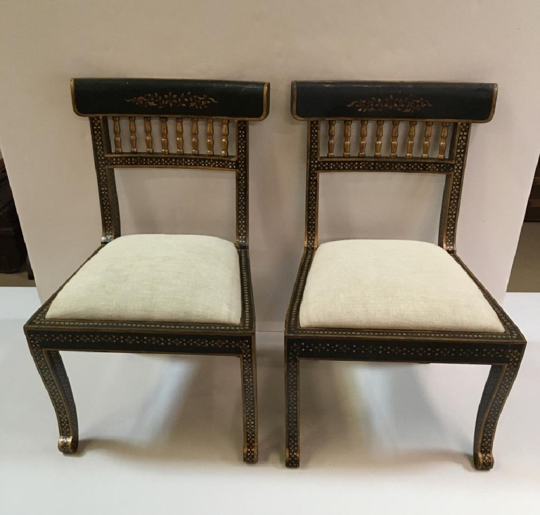 2 HAND PAINTED CHILD'S BLACK & GOLD CHAIRS