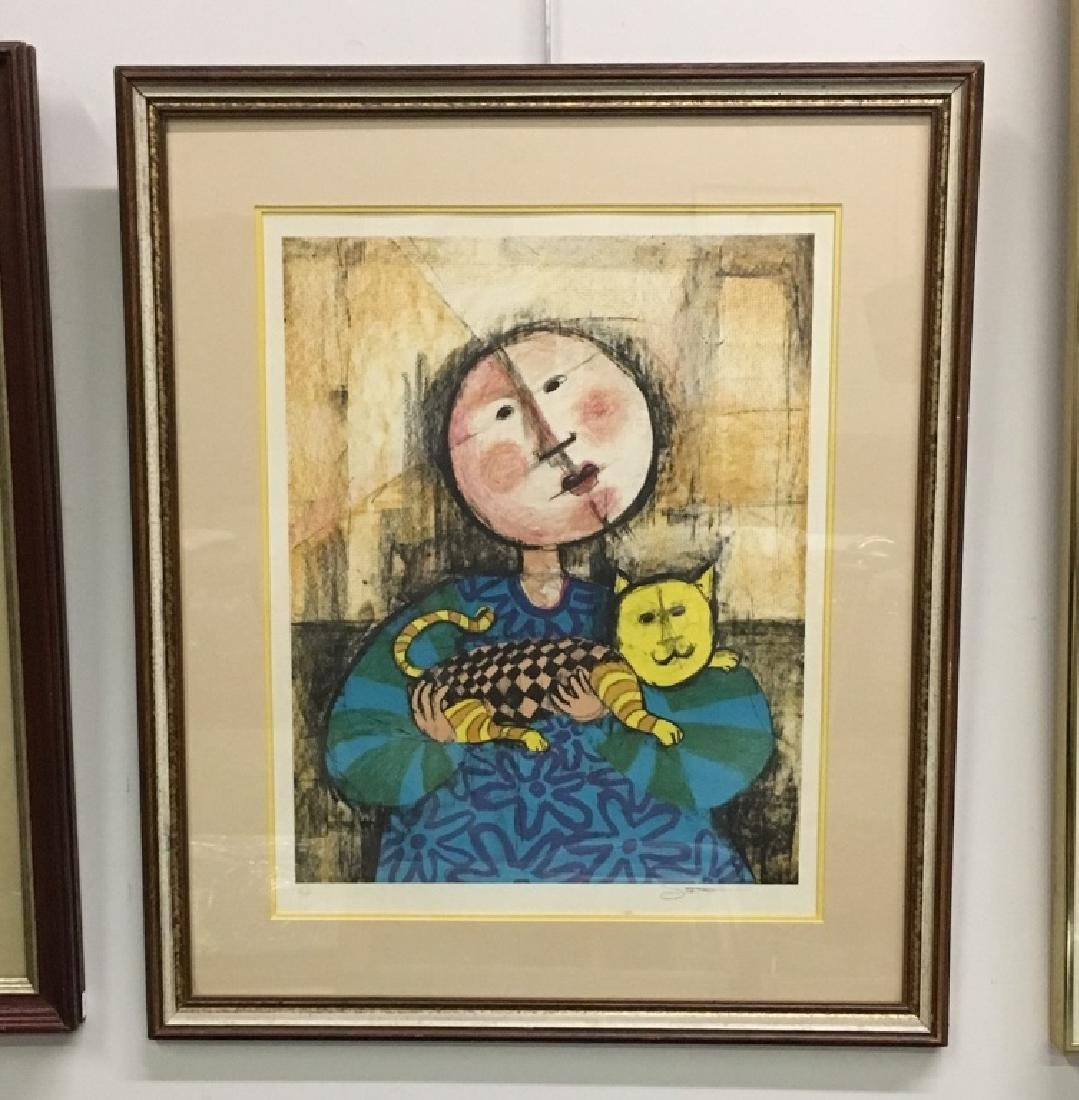 FRAMED LITHOGRAPH GIRL WITH CAT SIGNED SCOTT