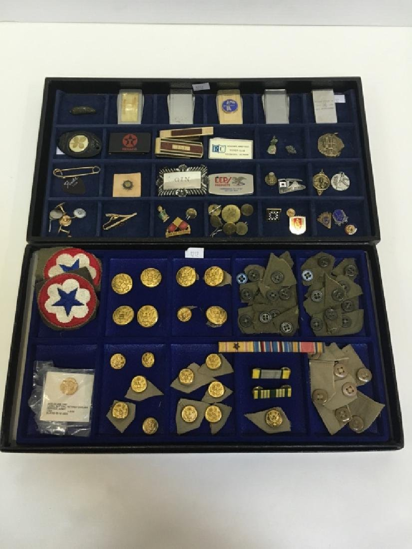 VINTAGE ITEMS - MILITARY, PINS, BUTTONS & MORE