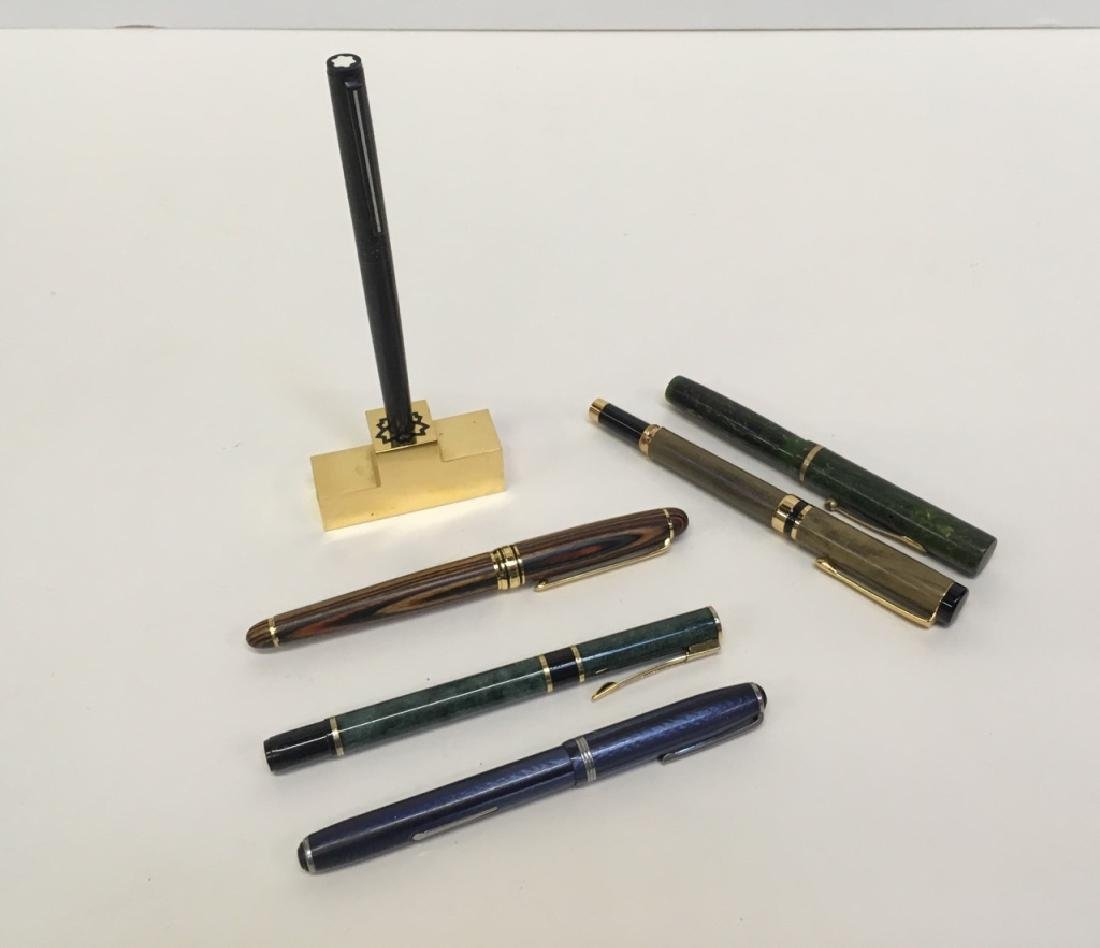 6 FOUNTAIN PENS & PEN STAND