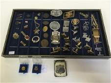 TRAY LOT OF MILITARY CUFF LINKS FRATERNAL  MORE