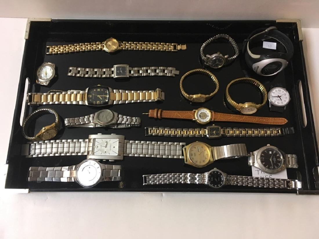 TRAY LOT OF CONTEMPORARY WRIST WATCHES