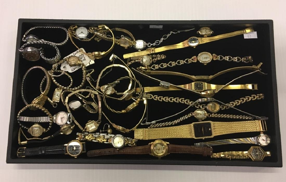 TRAY LOT OF WRIST WATCHES