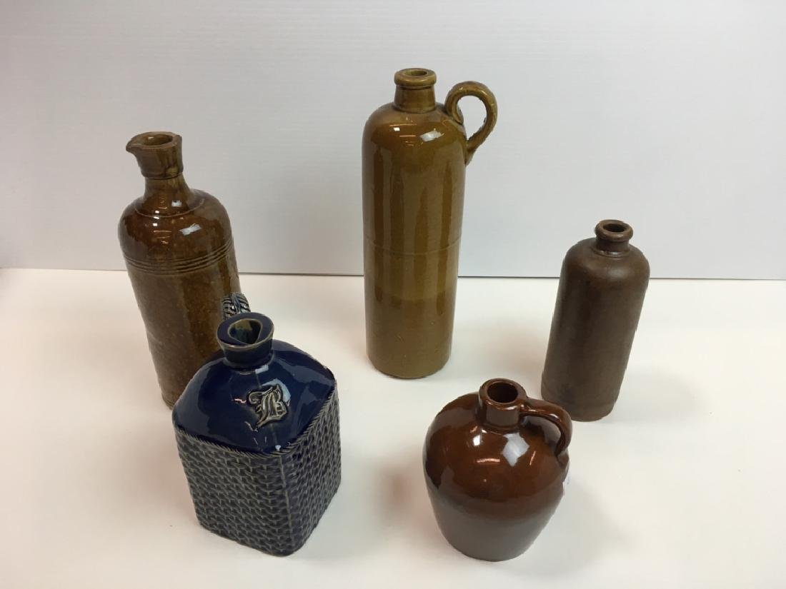 5 STONEWARE BOTTLES & JUGS INCLUDING ROYCROFT