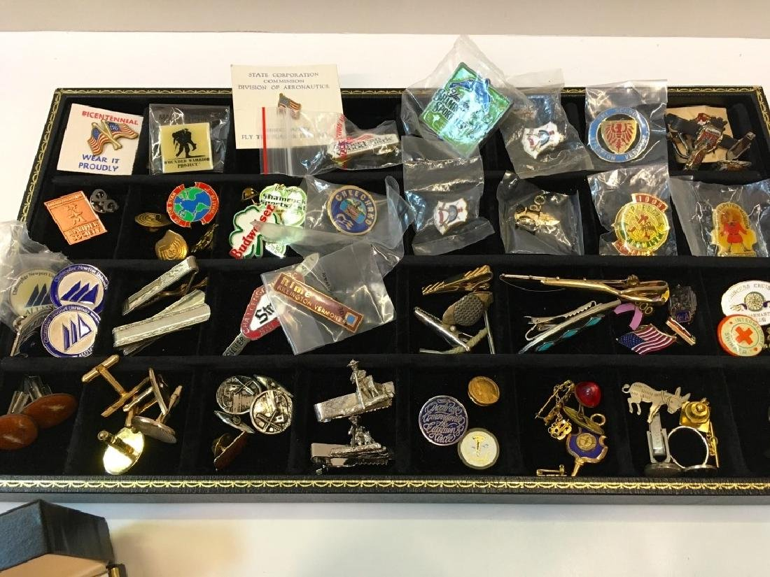 LARGE ASSORTMENT OF LAPEL PINS, CUFFLINKS & MORE