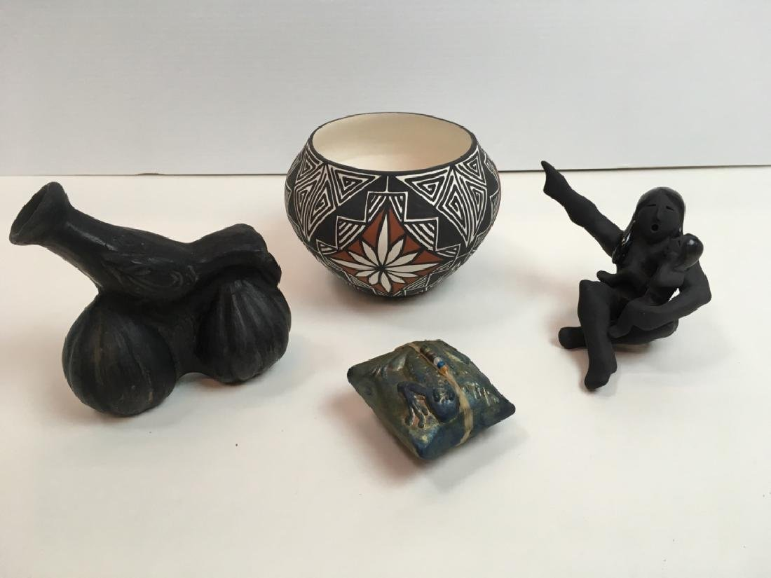 4 PCS OF POTTERY - RAKU & NATIVE AMERICAN