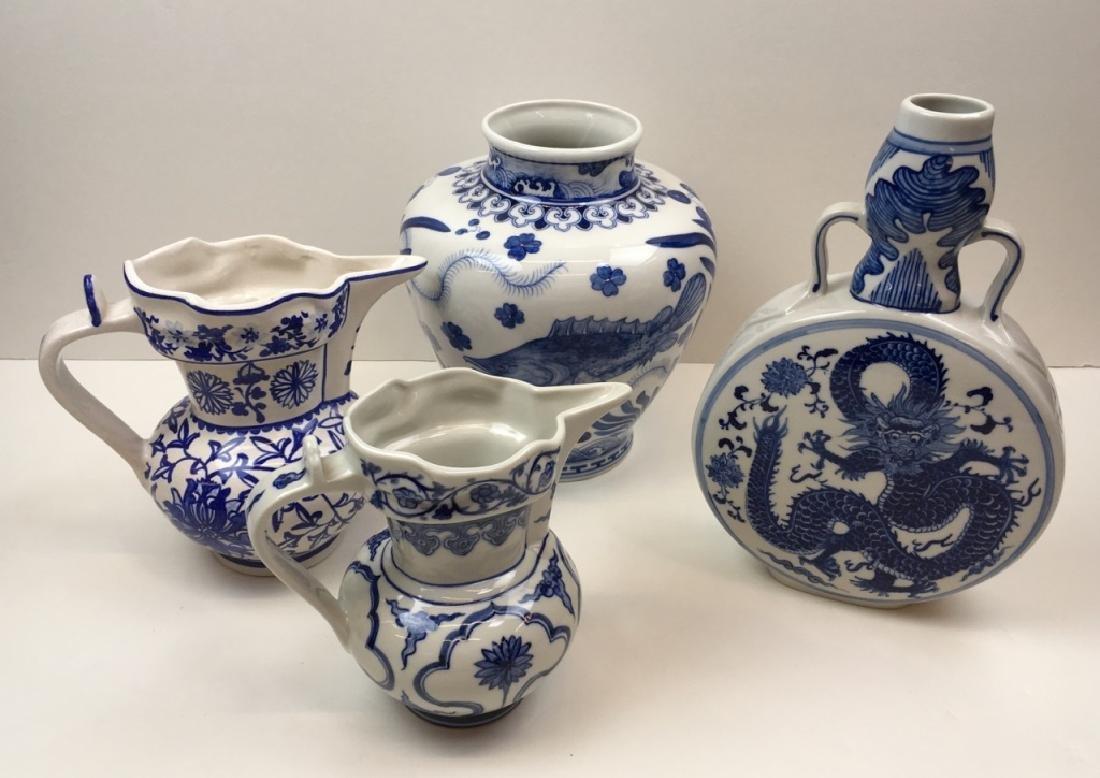 4 PCS OF CHINESE BLUE & WHITE POTTERY & PORCELAIN